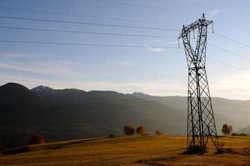 Electric power line in the Alps, Italy