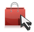 one shopping bag with an arrow cursor illustration
