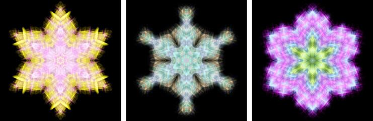 雪の結晶風万華鏡模様