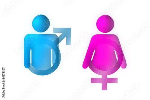 Simboli Maschio e Femmina su Bianco