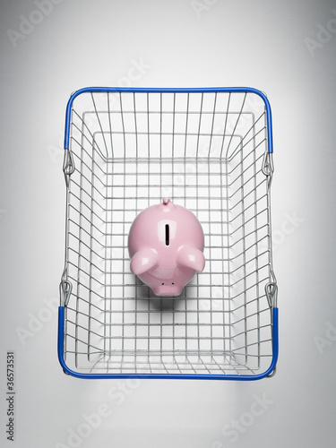 Piggy bank in shopping basket