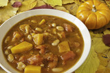 Pumpkin Soup with Fall Leaves