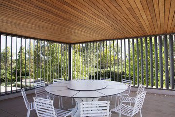 Table and chairs in modern outdoor space
