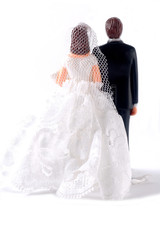 Back side of wedding dolls
