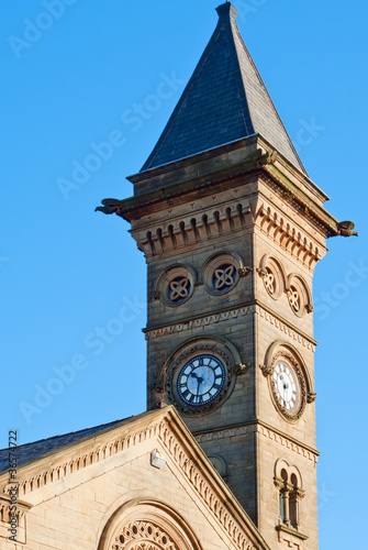 Clock tower of the old church in Preston, UK