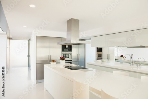 Stove and counters in modern kitchen
