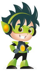 Techno Kid Mascot Standing