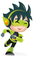 Techno Kid Mascot Running