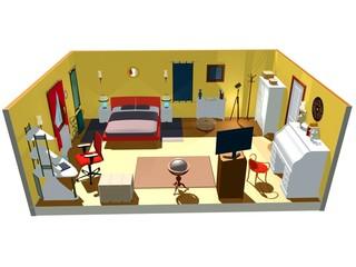 Camera da Letto Interno-Bedroom Plan-3d