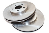 Two new brake discs isolated on white background