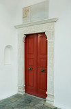 Red door museum, surrounded by marble