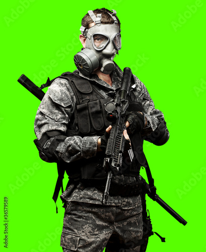 young soldier isolated over removable chroma key background