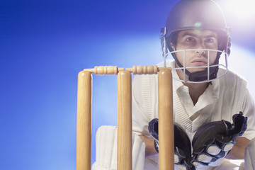 Cricket player waiting at bats