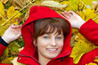 Autmn woman in red coat