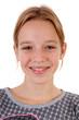 Leinwanddruck Bild - Portait of teenage girl with pimpels