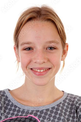 Leinwanddruck Bild Portait of teenage girl with pimpels