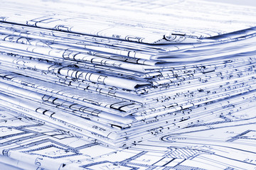Blueprints - a stack of professional architectural drawings