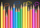 Group of smiling pencils with social chat sign