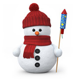 Snowman with woolen hat and fireworks rocket
