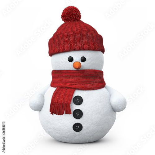 Leinwanddruck Bild Snowman with woolen hat