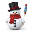 Snowman with top hat and fireworks rocket