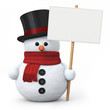 Snowman with top hat and signboard