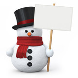 Fototapety Snowman with top hat and signboard