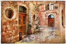 Stare uliczki Grecji - artystyczny retro piture