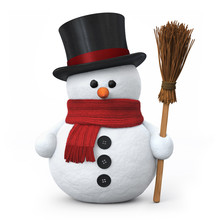 Snowman z kapelusza i miotły