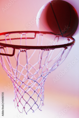 Basketball on rim of hoop