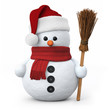 Snowman with santa hat and broom