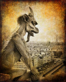 Paris,view from notre dame - vintage card
