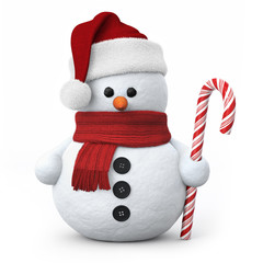 Snowman with santa hat and candy cane