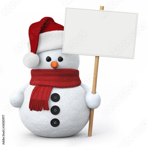 Leinwanddruck Bild Snowman with santa hat and signboard