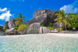 granite rocky beach Seychelles ilslad La digue