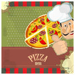 vintage menu - chef and a pizza  on grunge background