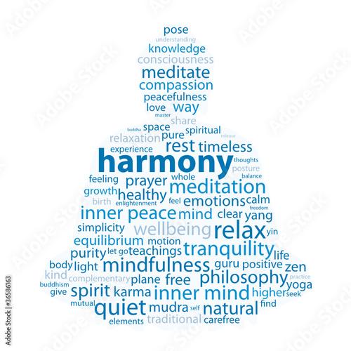 """HARMONY"" Tag Cloud (zen meditation lotus position relaxation)"