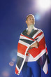 Athlete wrapped in Union Jack flag