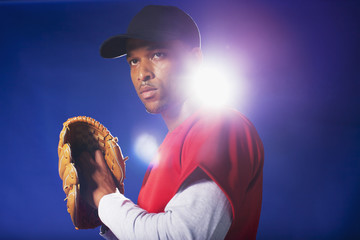 Baseball player holding glove