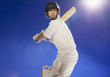 Cricket player holding bat