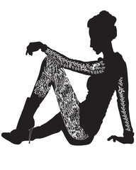 Beautiful Tattooed Women sitting silhouette