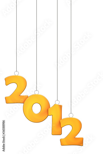 golden new year 2012 numbers pendant