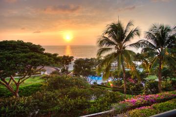 Sunset at tropical resort