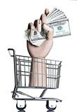Manikin hand in a miniature shopping cart, holding money poster
