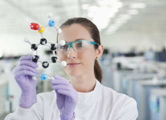 Scientist examining molecular model in lab