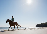 Girl riding horse on the beach
