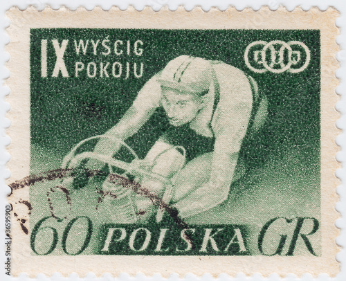 1957 Poland shows bicyclist