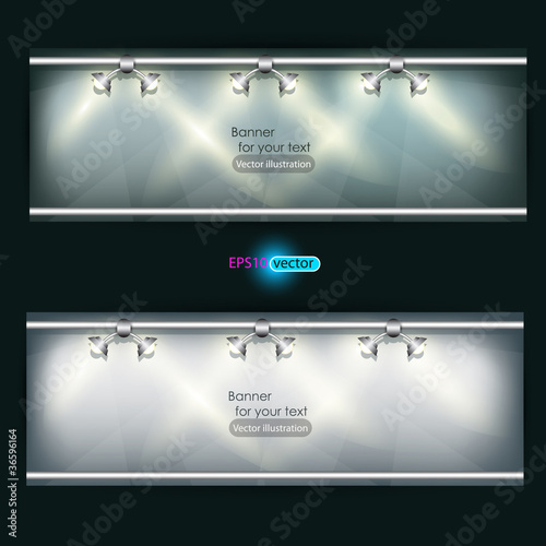Empty placard for product advertising with lighting