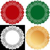 Lace Doily Placemats, Christmas colors