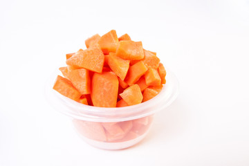Chopped Carrots in Plastic Container